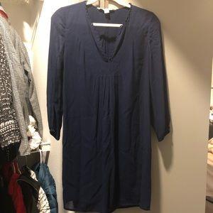 Diane Von Furstenberg Navy Long Sleeve Shift Dress